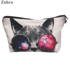 Venta al por mayor-Zohra gafas de sol cat impresión 3D necesaire Mujeres Bolsas de cosméticos neceser bolso de viaje organizador maleta de maquiagem Bolsa de maquillaje