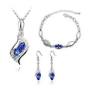 New Rhinestone Bilezik Küpeler Necklace Moda Takı Setleri Avusturya Zirkon Crystal Kolye + Küpeler + Bilezik Takı Seti Kadın Jewellry