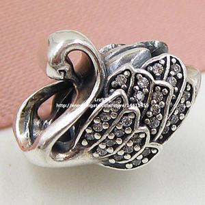 2015 Yeni 925 Ayar Gümüş Majestic Swan Charm Kolye Boncuk ile Temizle Cz Avrupa Pandora Takı Bilezikler Kolye Uyar