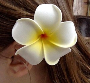 Grampo de cabelo-50pc / lot Nuolux mulheres meninas Hawaiian Plumeria espuma flor Hairpin DIY headwear PE frangipani hairpin branco amarelo