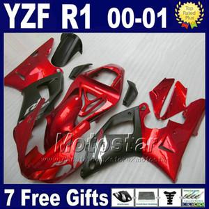 YAMAHA YZF R1 için Kırmızı düz siyah grenaj 00 01 kaporta kitleri 2000 2001 YZFR1 yzf1000 A12B kaliteli parçalar kiti + 7 hediyeler