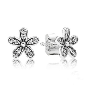 Daisy Daisy 925 Sterling Silver Stud Earrings con Clear Cubic Zirconia Elegant Style Flower Earrings para mujer ER005
