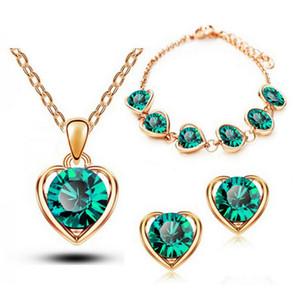 أزياء القلب قلادة أقراط أساور مجموعات مصنع Dircet مبيعات أعلى جودة Ziron القلب مجموعات مجوهرات للنساء 1331
