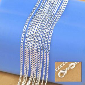 Monili solidi della catena genuina della collana dell'argento sterlina 925 per le donne 16-30 pollici di modo Curbwith i catenacci dell'aragosta Trasporto libero