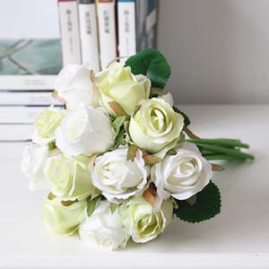 rosa de seda flores 12 piezas novia de la boda Ramos de boda de visualización centro de mesa de rosas flores artificiales de seda rosa Rosefloyd SF0201 cuerpo