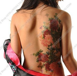 Wholesale-Big size Peony Flowers Phoenix Butterfly Back Waterproof Large Temporary Tattoo Sticker For Body Art 10 Kinds Of Styles