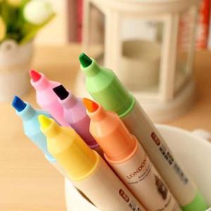 Nuovo 6 colori doppia testa evidenziatore penna pennarello vernice fodera pastello etichetta decorativa / punta rotonda / obliquo spedizione gratuita