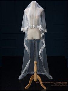 Melhor Venda de Luxo Real Imagem Véus De Noiva 2016 Véus Longos Lace Applique Cristais Duas Camadas Catedral Comprimento Véu De Noiva Barato