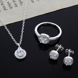 2015 nuevo diseño 925 Sterling Silver CZ Diamond Necklace Ring Earrings Set joyería de moda regalo de boda para mujer envío gratis