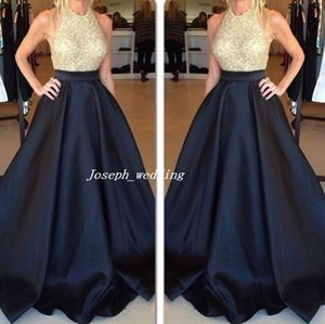 Free Shipping New Elegant Long Dark Navy Blue Gold Evening Dresses A-Line Formal Special Occasion Dresses Gown Sequined