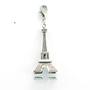 Classici Charms in lega con chiusura a moschettone Retro 3D Torre Eiffel Pendenti Charms fai-da-te per gioielli Making Components