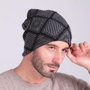 Mens Fashion Wool 니트 크로 셰 뜨개질 모자 겨울 따뜻한 Ski Slouch 해골 헐렁한 모자