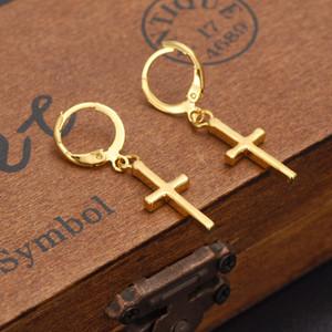 Эксклюзивный специальный дизайн христианской моды женщин истинный реальный 14k твердый тонкий желтый золото GF распятие крест вневременной Шарм серьги