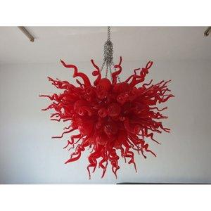 Red Murano Glass Разработанная Люстра Современные Светодиодные Лампы Ручной Выдувной Боросиликат Красного Стекла Modern Art Индивидуальные Люстры для Домашнего Декора