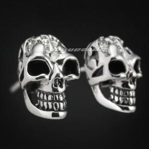 925 Sterling Silver Smille Skull Hommes Biker Rocker Stud Earrings 8M005