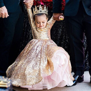 2019 Newest Rose Gold Sequins Flower Girls Dresses Long Sleeve A Line Cute Kids Pageant Gown First Communion Dresses Custom Made