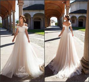 Off the Shoulder 2018 Elegant A-Line Long Wedding Dresses Corset Back Summer Beach Bridal Gowns Plus Size Country Vestido De Novia