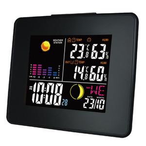Freeshipping 디지털 무선 기상 관측소 LCD 컬러 백라이트 실내 실외 온도 습도 및 디지털 알람 시계