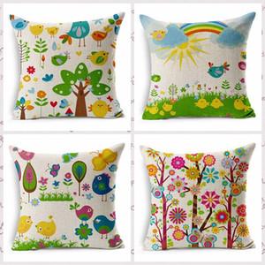 Fleur et oiseaux personnalisé Housse de coussin Rainbow Sun Spring Taie d'oreiller Fleur Arbre Coussin Couvrant Décoration de La Maison Cadeau pour les amis
