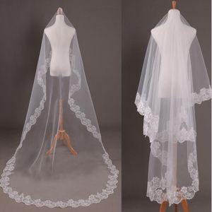 Nuevos elegantes velos de novia blancos de 1 capa Accesorios de boda con borde de encaje 1.5 / 2/3/5 metros de longitud Velos de novia