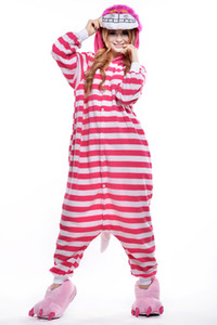 The latest adult striped pajamas cute female cartoon piece pajamas tracksuit pink Cheshire cat cosplay piece pajamas