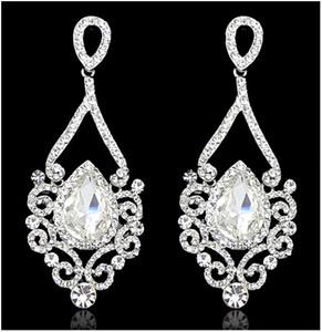 Nuevo Retro Pendientes de Gota de Cristal Estilo Europeo y Americano gema rhinestone Vintage Eardrop Wedding Engagement Party Accesorios de joyería