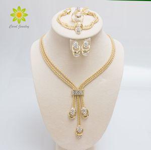 Nouvelle Arrivée De Mode Or Plaqué Perles Collier Collier Boucles D'oreilles Bracelet Beaux Anneaux Ensembles Parti Costume Pour Les Femmes