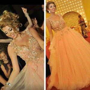 2019 Vestidos Formales Scollo a V con Spaghetti Pageant Applique Perline Una linea Lunga Tulle Prom Dresses Abiti di sfera Abiti da sera Formale
