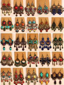 2018 ventes chaudes Vintage Tibet Argent / Bronze Résine boucles d'oreilles en diamants Gem bijoux de style Bohême mélangé 25 le style 25Pairs / lot