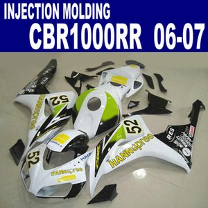 Injection molding high quality fairing kit for HONDA CBR1000RR 06 07 CBR1000 RR 2006 2007 green white HANNspree fairings set VV40