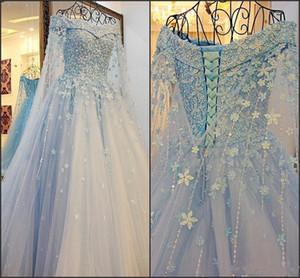 Fairy Sky Blue romántica de manga larga vestidos de novia cuentas del hombro Vestido De Novia Encantadores vestidos de novia de encaje