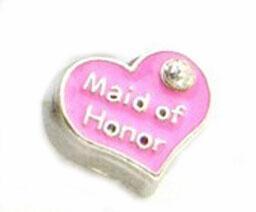 20pcs / lot charme de demoiselle d'honneur, coeur en alliage de bricolage mariage flottant médaillon charmes fit pour verre vivant médaillon magnétique pendentif