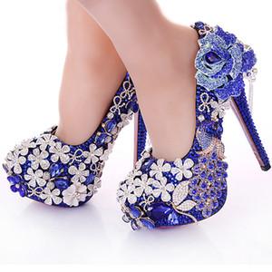Azul De Cristal Do Casamento Vestido de Strass Pavão Lindo Sapatos de Salto Alto Boate Prom Dress Shoes Nupcial Vestido Sapatos