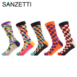 Wholesale- SANZETTI 5 Pairs/lot Men's Colorful Funny Combed Cotton Socks Argyle Filled Optic Striped Casual Dress Crew Socks Winter Socks