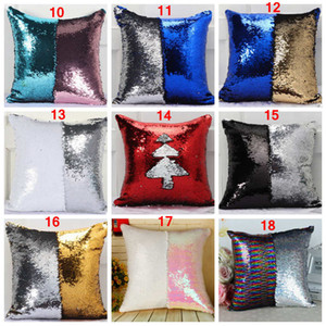 DHL 36 colors Double Sequin Pillow Case cover Glamour Square Pillow Case Cushion Cover Home Sofa Car Decor Christmas sequined Pillow Covers