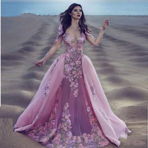 Sexy Borgoña rosa de encaje manga larga sirena Gala vestido de fiesta desmontable extraíble falda Indian Floral Prom vestidos de noche