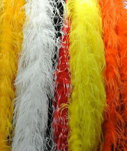 2 pcs 200 cm / pcs branco preto laranja vermelho rosa azul verde roxo avestruz Boas de Pena para a festa de casamento fornecimento de eventos