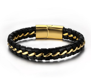 Men's Braided Leather Bracelet with Stainless Steel Magnetic Clasp