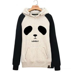 Raisevern nuevo algodón 3D sudaderas con capucha gruesas harajuku cartoon panda cabeza animal print mujer deporte traje sudadera otoño / invierno ropa FG1510