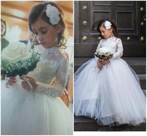 Wedding Party linda Flower Girl Dresses gola alta manga comprida Princesa apliques de renda Flor Meninas Vestidos Kids Wear Formal