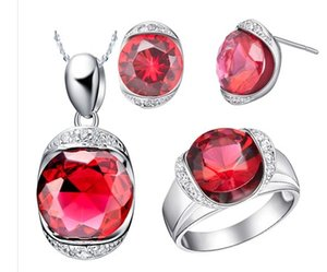 chaming vermelho * colar de diamantes azul senhora conjunto (45cm) anel de aço (sz 7 8 9) (sp3658)