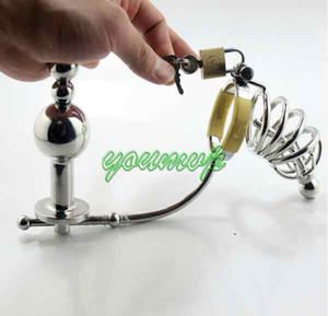 Maschio Plug regolabile anale in acciaio inossidabile Perline per culo + gabbia di cazzo + catetere Cintura di castità Art Device / SM Giocattoli sessuali JJD10062007