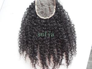 Brezilyalı İnsan Bakire Saç Uzatma Dantel Ön Sınıf 7A Saç Ürün Işlenmemiş Doğal Siyah Kinky Kıvırcık 4 * 4 inç Dantel Kapatma