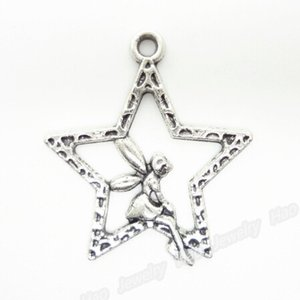Wholesale-Latest Design!!!120pcs/lot Alloy Fairy&Star Antique Silver Plated Charms Pendant Fit Jewelry Making 28x25x2mm