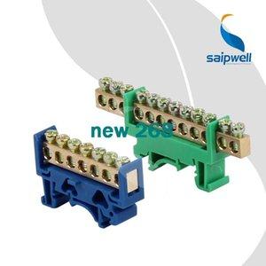 20pcs / lot, 250V-450V 황동 나사 터미널 단일 행 6 * 9mm, 7 가지 방법 Blue Electric Terminal Blocks Connector SP-006 / 7