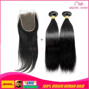 2 demetleri ile üç bölüm dantel kapatma saç atkı toptan Brezilyalı ipek taban dantel kapatma bakire remy İnsan saç dokuma ücretsiz DHL UPS