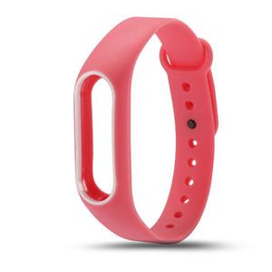 Toptan Renkli Silikon Bilek Kayışı Bilezik Orijinal Miband 2 Xiaomi Mi için Çift Renk Yedek watchband band 2 Bilekliği