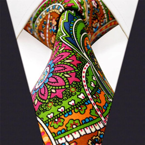U31 Paisley Multicolor Rouge Vert Jaune Bleu Mens Ties Cravate 100% soie d'impression à la main Nouveau