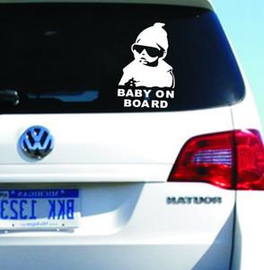 بارد الطفل على متن ملصقات السيارات التصميم دراجة نارية ملصقا الفينيل الشارات عاكس شخصية للماء إزالة الملحقات أسود / أبيض