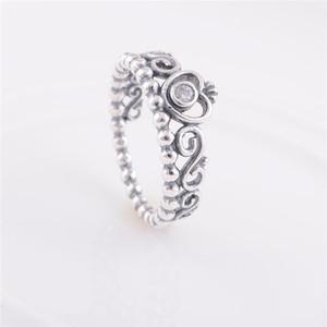 Authentique Bague de fiançailles en argent sterling 925 avec anneaux de mariage princesse couronne pour femmes s'adapte au charme de style européen Pandora